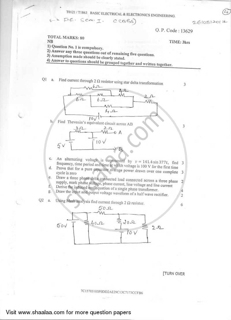 Question Paper - Basic Electrical and Electronics Engineering 2016-2017 - B.E. - Semester 1 (FE First Year) - University of Mumbai with PDF download