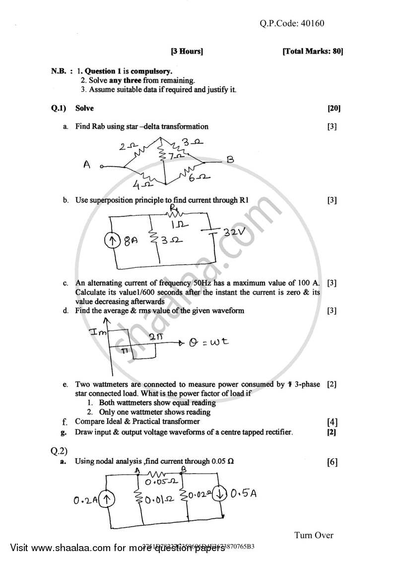 Question Paper - Basic Electrical and Electronics Engineering 2017-2018 - B.E. - Semester 1 (FE First Year) - University of Mumbai with PDF download