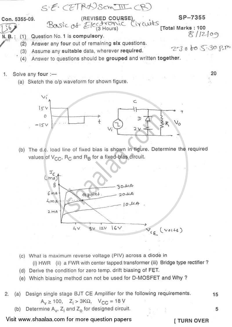Question Paper - Basic Electronics Circuits 2009 - 2010 - B.E. - Semester 3 (SE Second Year) - University of Mumbai