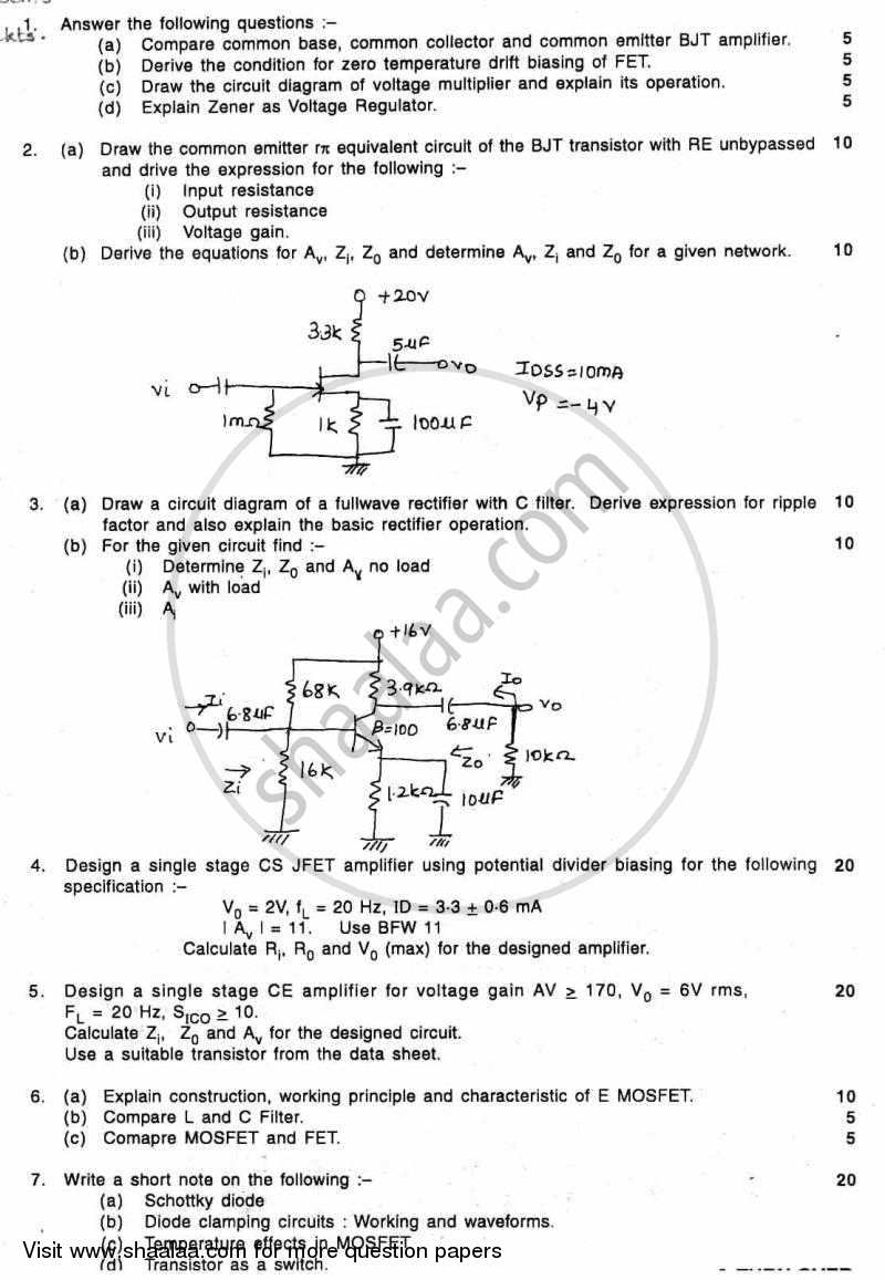 Question Paper Be Electronics Engineering Semester 3 Se Second Electronic Circuit Diagrams Download Basic Circuits 2010 2011