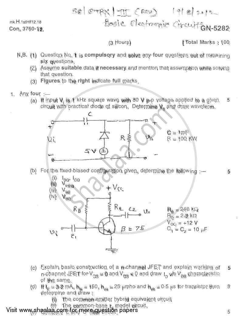 Question Paper - Basic Electronics Circuits 2011 - 2012 - B.E. - Semester 3 (SE Second Year) - University of Mumbai