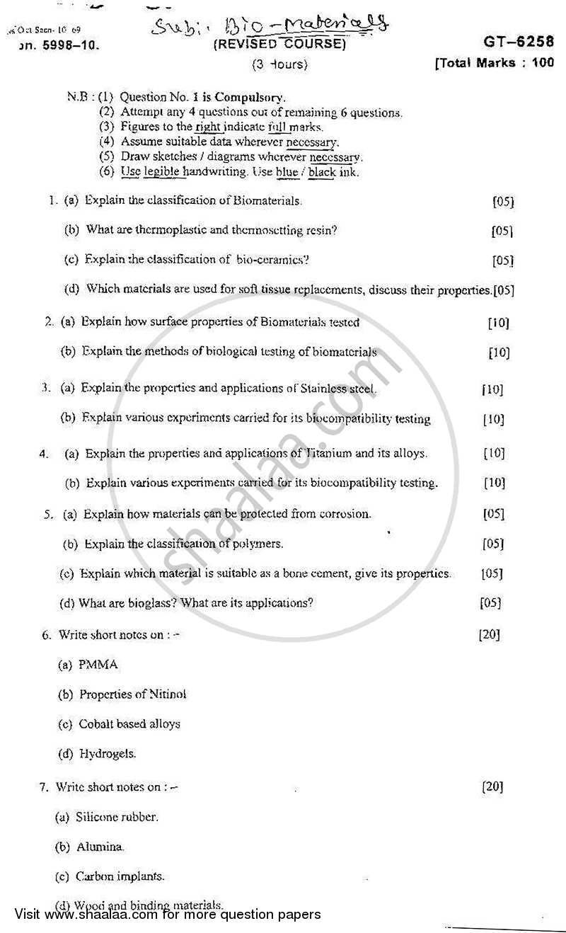 Question Paper - Bio-materials 2010 - 2011 - B.E. - Semester 3 (SE Second Year) - University of Mumbai