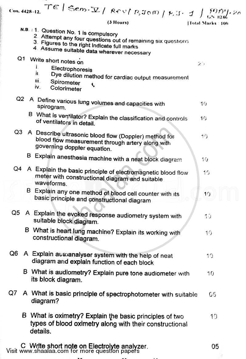 Question Paper - Bio-medical Instrumentation – 1 2011 - 2012 - B.E. - Semester 5 (TE Third Year) - University of Mumbai