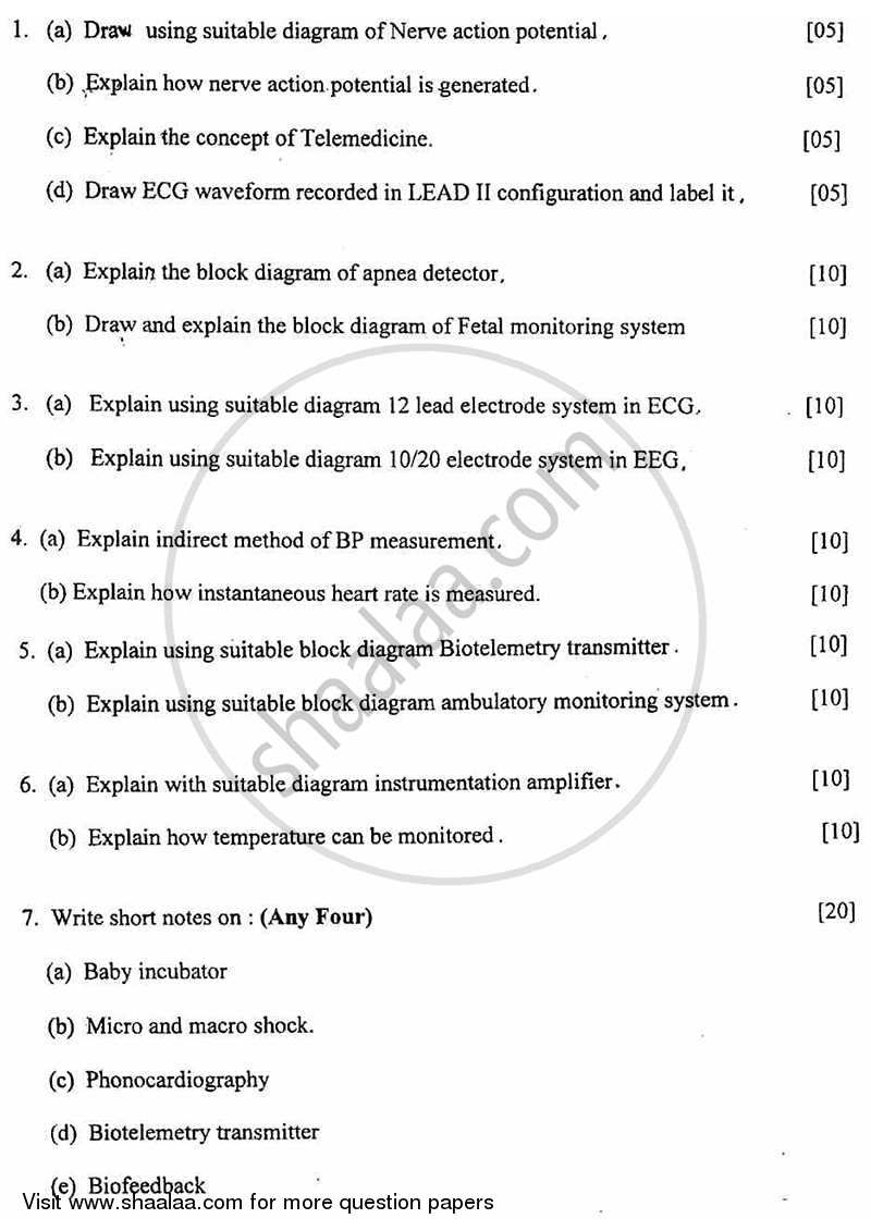 Question Paper - Biomedical Instrumentation -2 2010 - 2011 - B.E. - Semester 6 (TE Third Year) - University of Mumbai