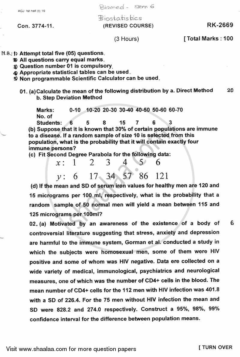 Question Paper - Biostatistics 2010 - 2011 - B.E. - Semester 6 (TE Third Year) - University of Mumbai