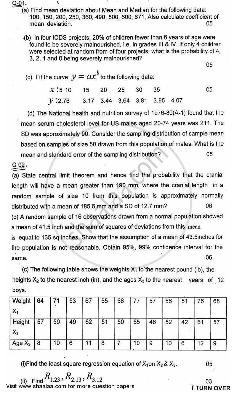 Question Paper - Biostatistics 2011 - 2012 - B.E. - Semester 6 (TE Third Year) - University of Mumbai with PDF download