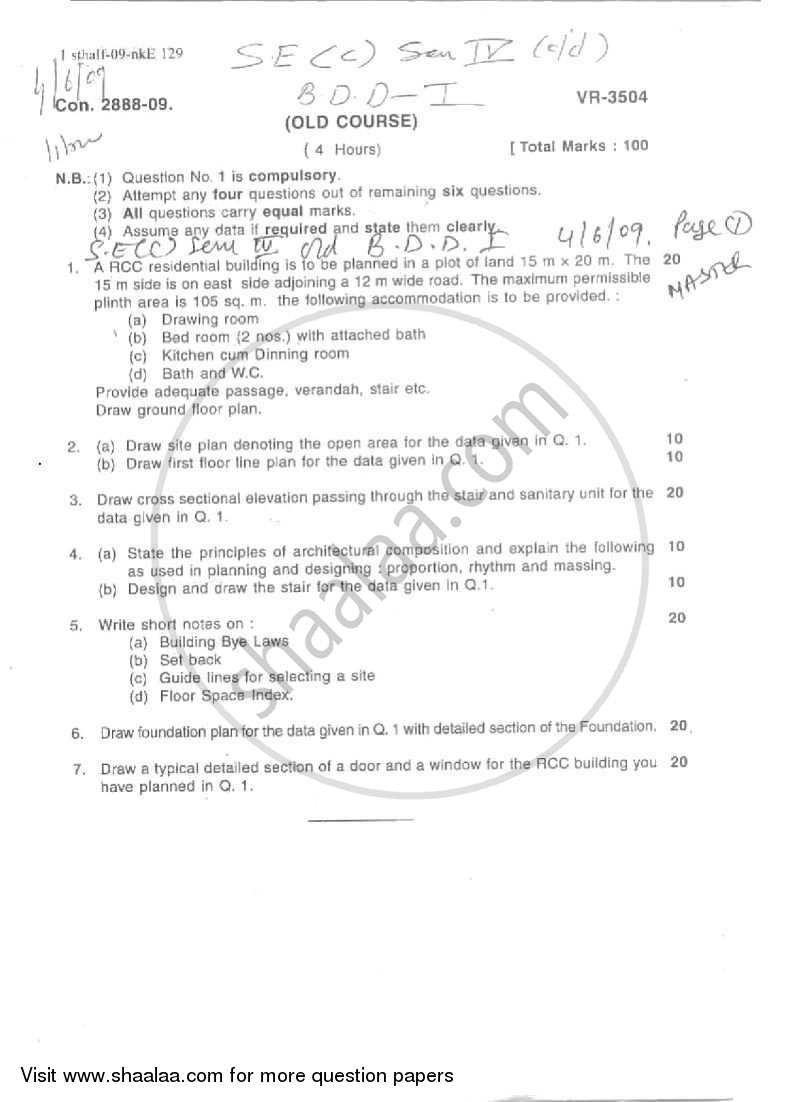 Question Paper - Building Design and Drawing 1 2008 - 2009 - B.E. - Semester 4 (SE Second Year) - University of Mumbai