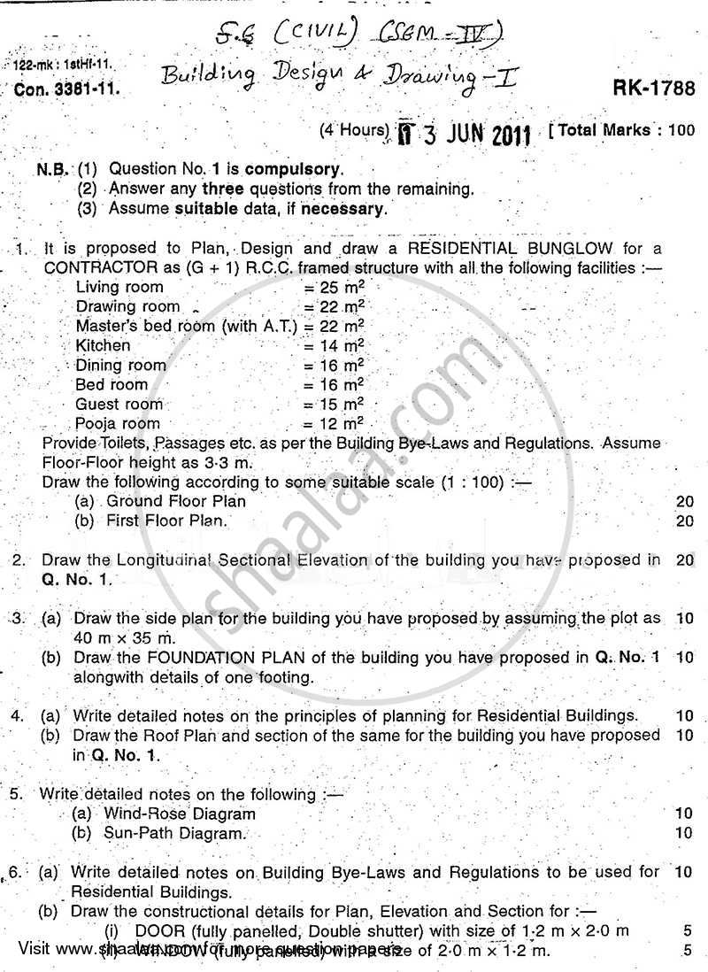 Question Paper - Building Design and Drawing 1 2010 - 2011 - B.E. - Semester 4 (SE Second Year) - University of Mumbai