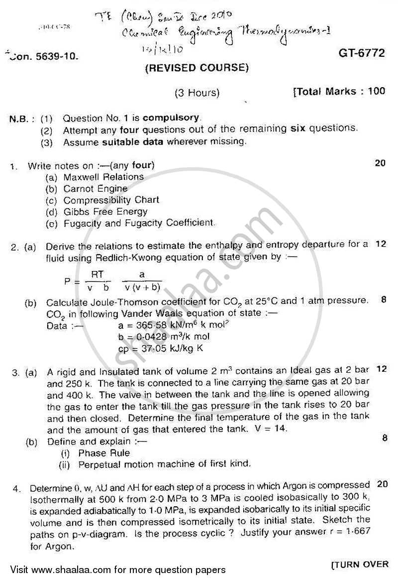 Chemical Engineering Thermodynamics 2 2010-2011 - B.E. - Semester 5 (TE Third Year) - University of Mumbai question paper with PDF download