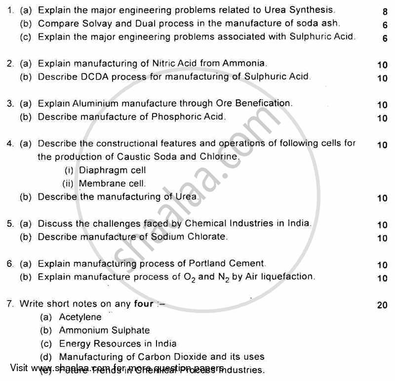Chemical Process- 1 2011-2012 - B.E. - Semester 6 (TE Third Year) - University of Mumbai question paper with PDF download