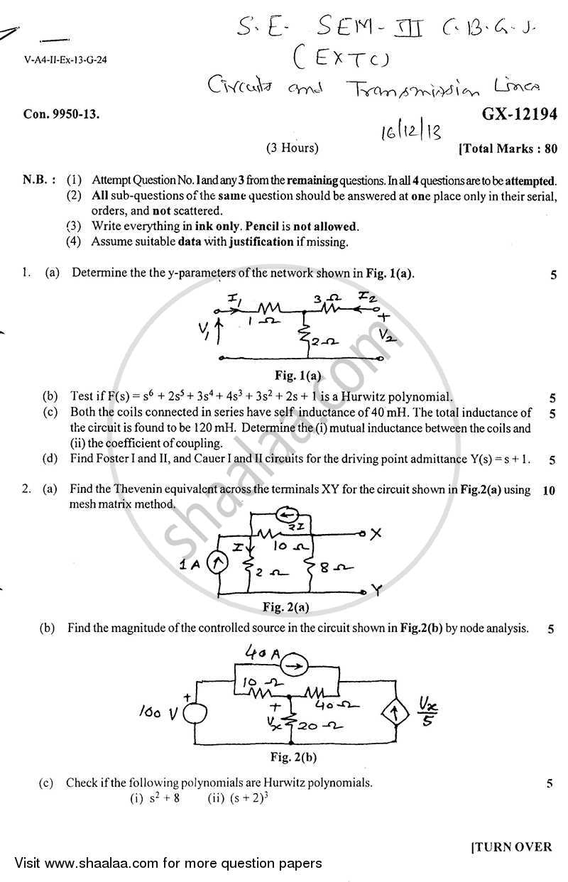 Circuits and Transmission Lines 2013-2014 - B.E. - Semester 3 (SE Second Year) - University of Mumbai question paper with PDF download