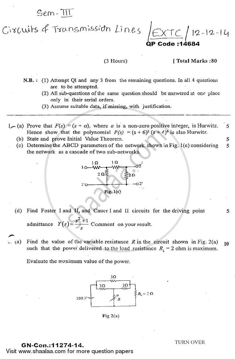 Question Paper - Circuits and Transmission Lines 2014-2015 - B.E. - Semester 3 (SE Second Year) - University of Mumbai with PDF download