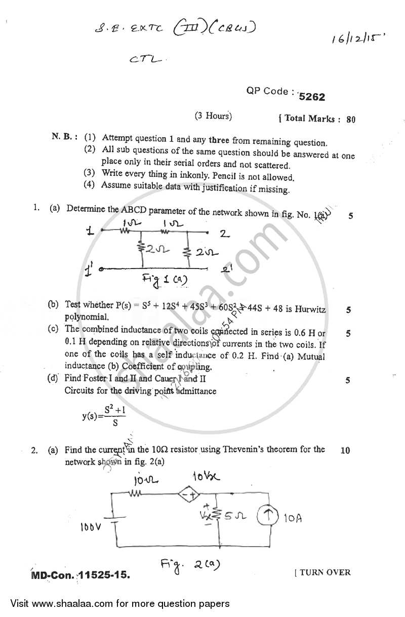 Question Paper - Circuits and Transmission Lines 2015 - 2016 - B.E. - Semester 3 (SE Second Year) - University of Mumbai