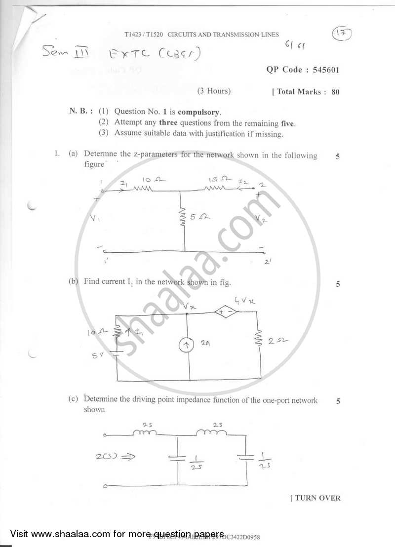 Question Paper - Circuits and Transmission Lines 2016-2017 - B.E. - Semester 3 (SE Second Year) - University of Mumbai with PDF download