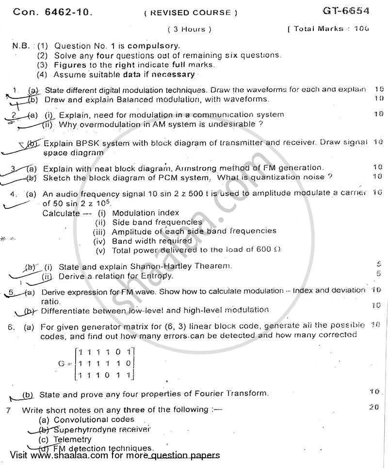 Question Paper - Communication Engineering 2010 - 2011 - B.E. - Semester 5 (TE Third Year) - University of Mumbai