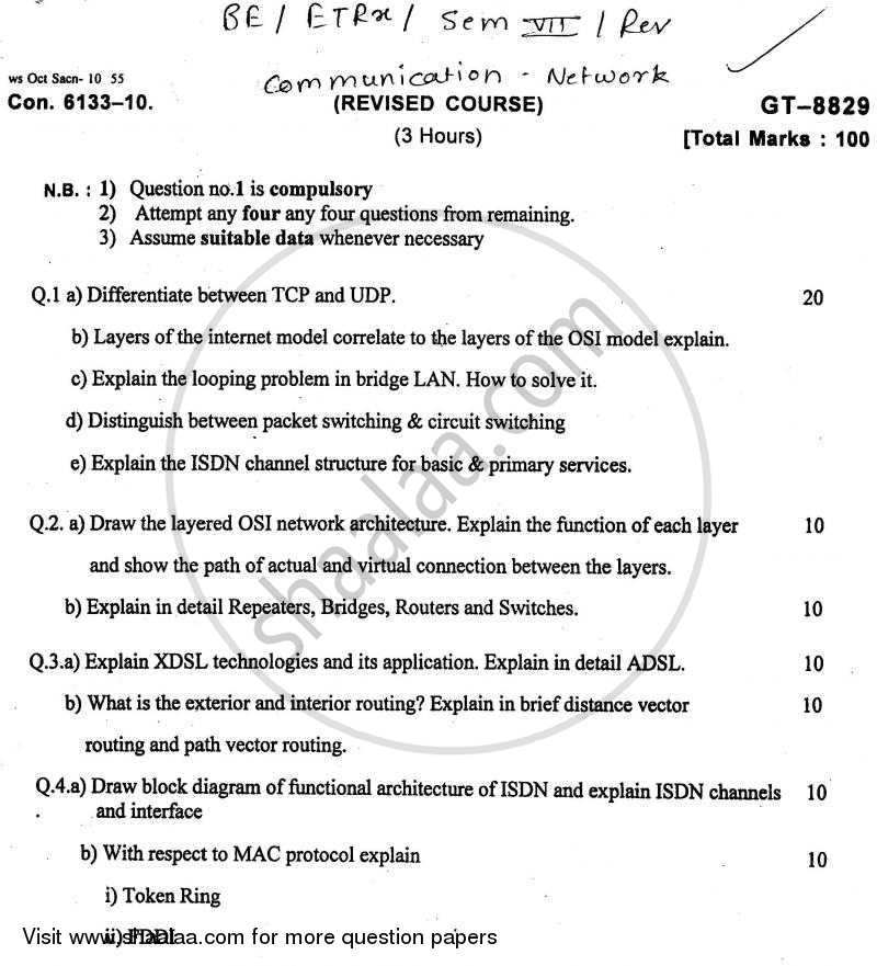 Question Paper - Communication Networks 2010 - 2011 - B.E. - Semester 7 (BE Fourth Year) - University of Mumbai