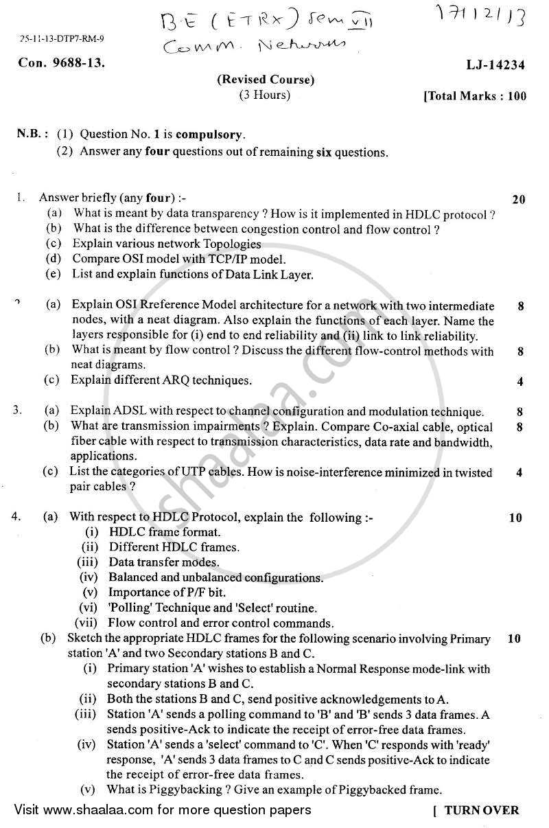 Question Paper - Communication Networks 2013 - 2014 - B.E. - Semester 7 (BE Fourth Year) - University of Mumbai