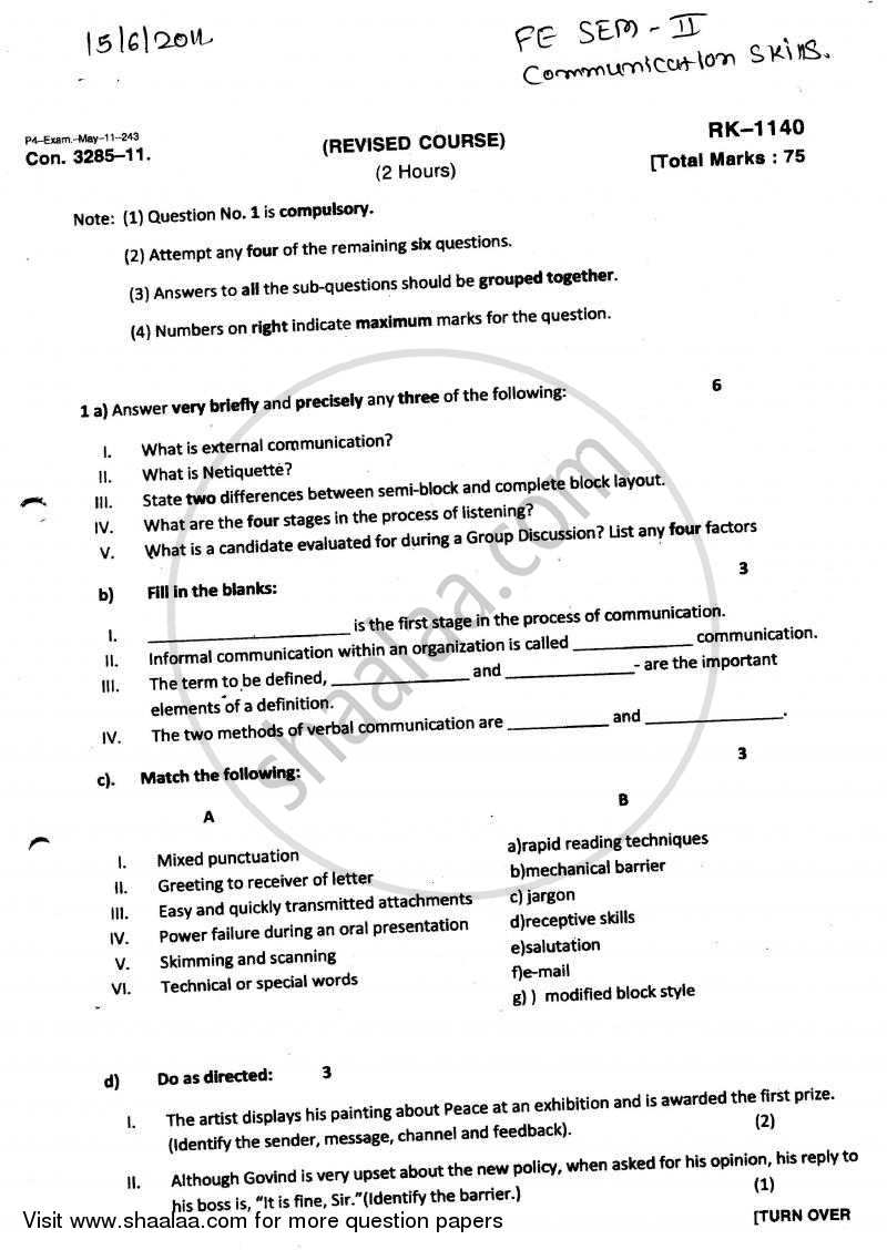 Question Paper - Communication Skills 2010 - 2011 - B.E. - Semester 2 (FE First Year) - University of Mumbai