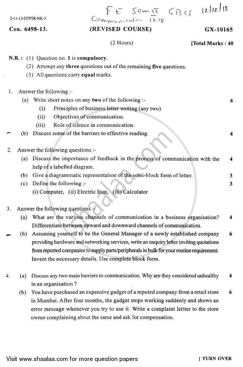 Question Paper - Communication Skills 2013 - 2014 - B.E. - Semester 2 (FE First Year) - University of Mumbai