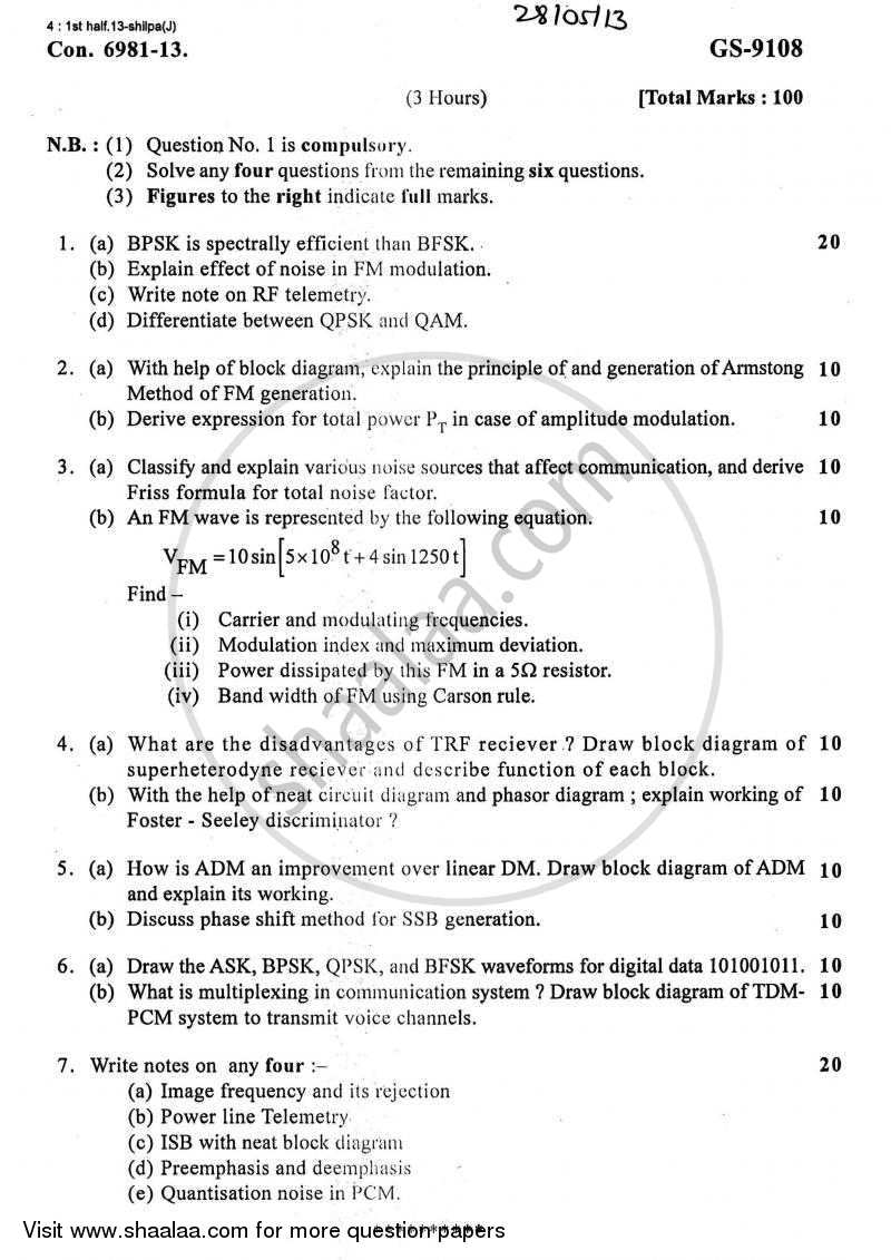 Question Paper - Communication Systems 2012 - 2013 - B.E. - Semester 5 (TE Third Year) - University of Mumbai
