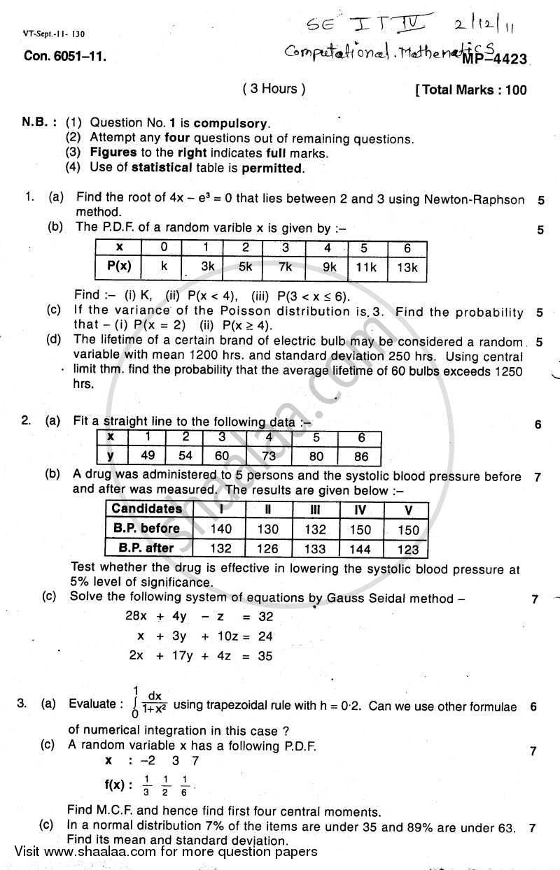 Question Paper - Computational Mathematics 2011 - 2012 - B.E. - Semester 4 (SE Second Year) - University of Mumbai