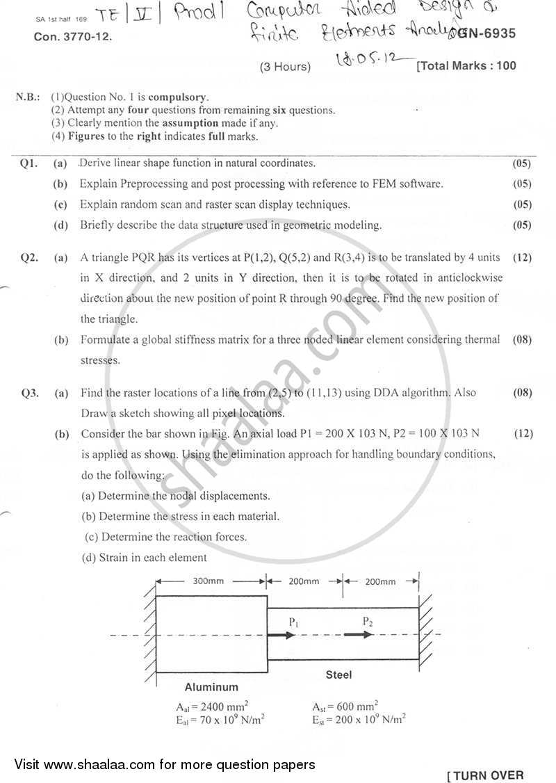 Question Paper - Computer Aided Design and Finite Elements Analysis 2011 - 2012 - B.E. - Semester 5 (TE Third Year) - University of Mumbai