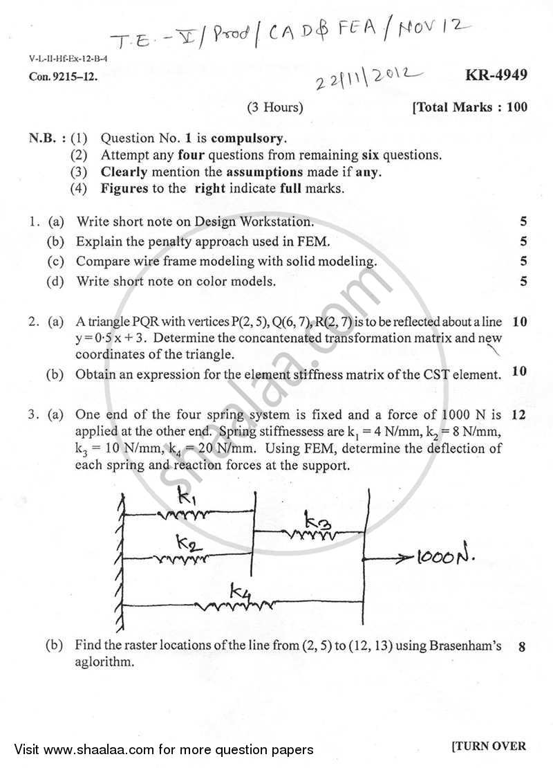 Question Paper - Computer Aided Design and Finite Elements Analysis 2012 - 2013 - B.E. - Semester 5 (TE Third Year) - University of Mumbai