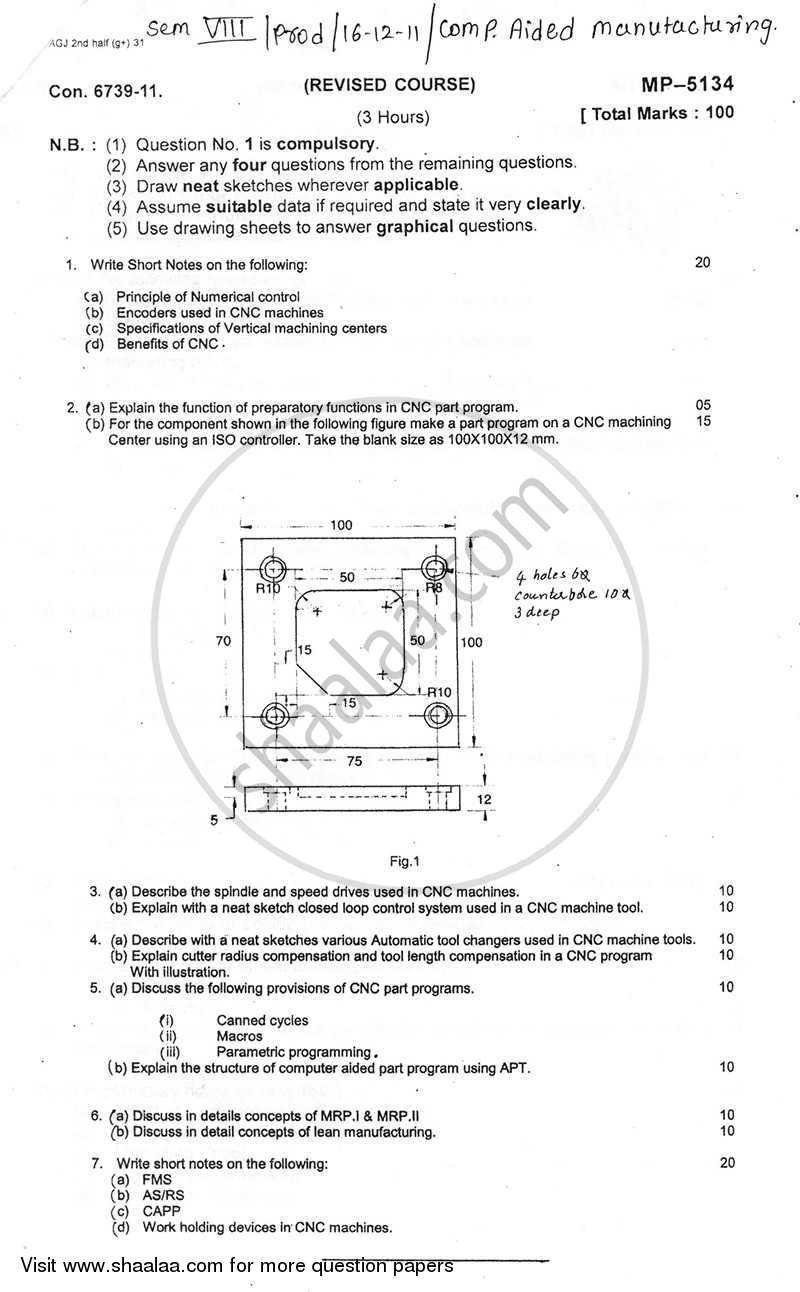 Question Paper - Computer Aided Manufacturing 2011 - 2012 - B.E. - Semester 8 (BE Fourth Year) - University of Mumbai