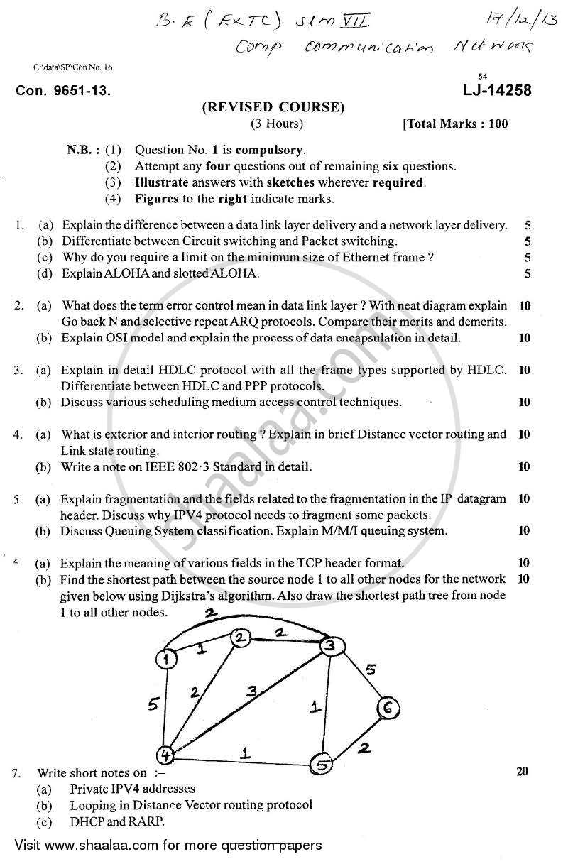 Computer Communication Network 2013-2014 - B.E. - Semester 7 (BE Fourth Year) - University of Mumbai question paper with PDF download