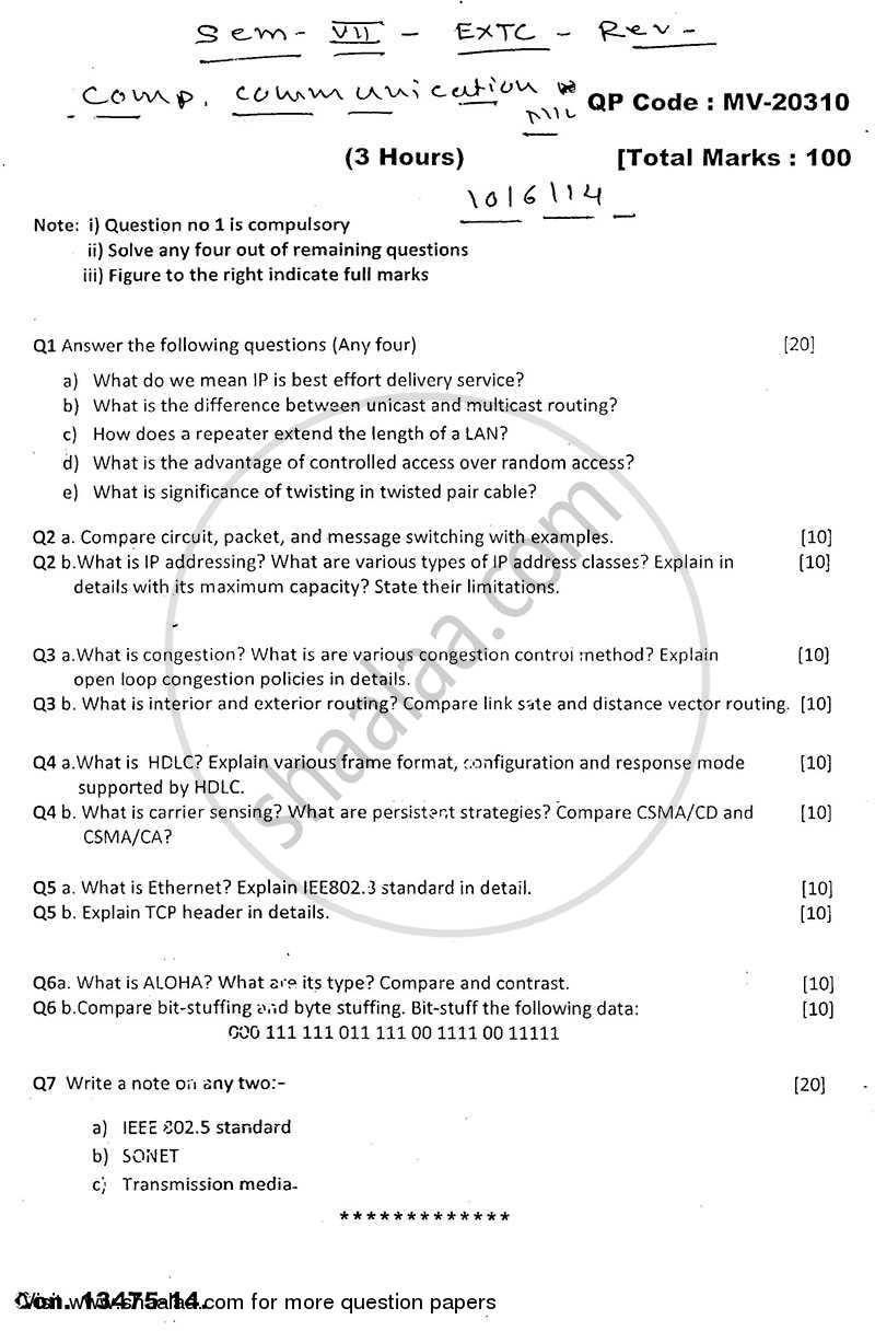 Question Paper - Computer Communication Network 2013 - 2014 - B.E. - Semester 7 (BE Fourth Year) - University of Mumbai