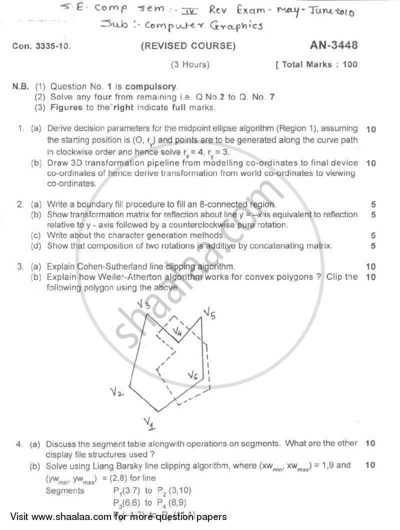 Computer Graphics 2009-2010 - B.E. - Semester 4 (SE Second Year) - University of Mumbai question paper with PDF download