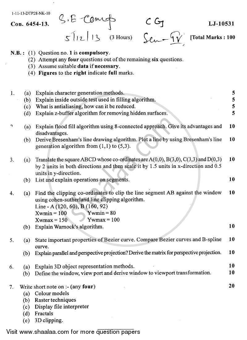 Question Paper - Computer Graphics 2013 - 2014-B.E.-Semester 4 (SE Second Year) University of Mumbai