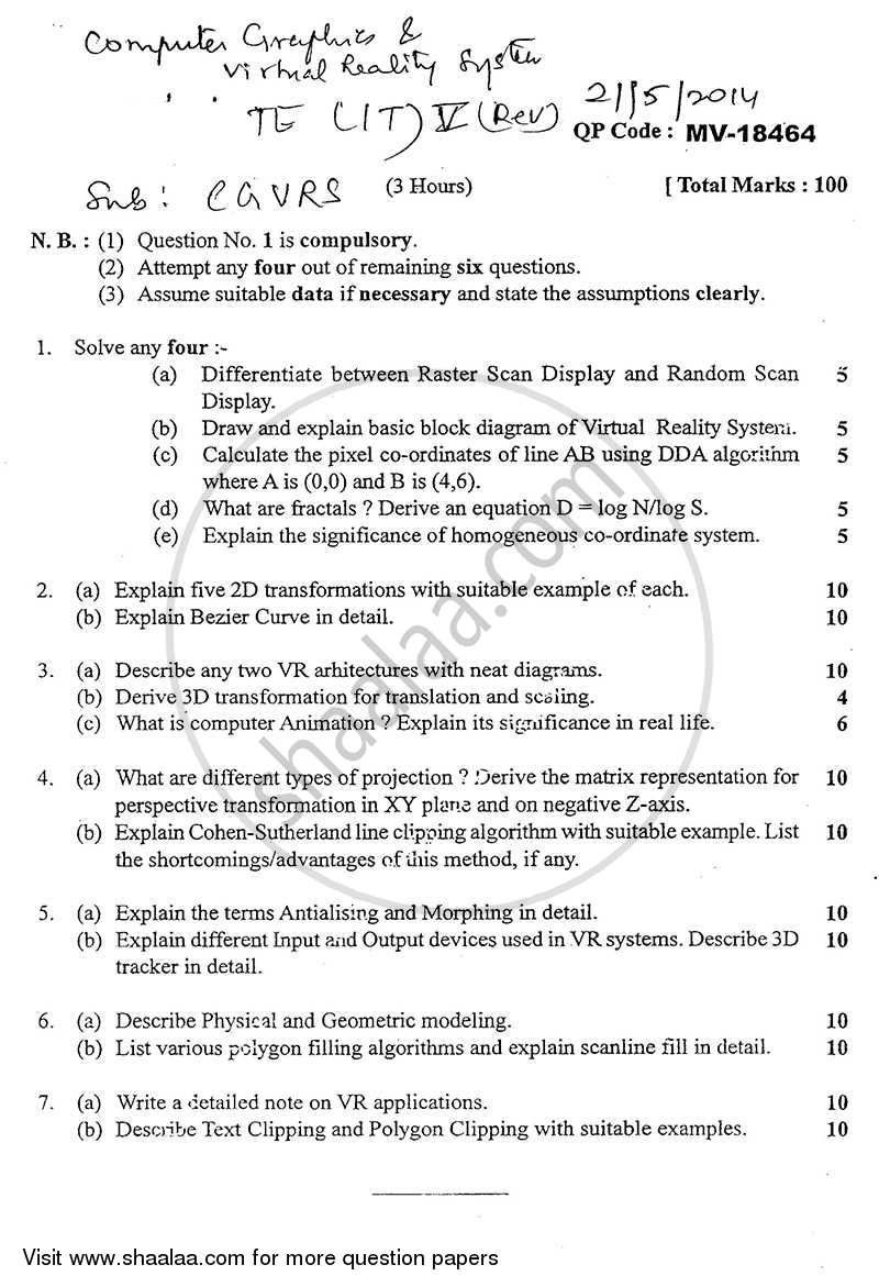 Question Paper - Computer Graphics and Virtual Reality 2013 - 2014 - B.E. - Semester 5 (TE Third Year) - University of Mumbai