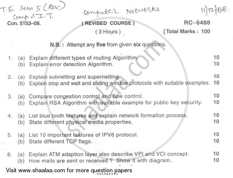Question Paper - Computer Networks 2008 - 2009 - B.E. - Semester 5 (TE Third Year) - University of Mumbai