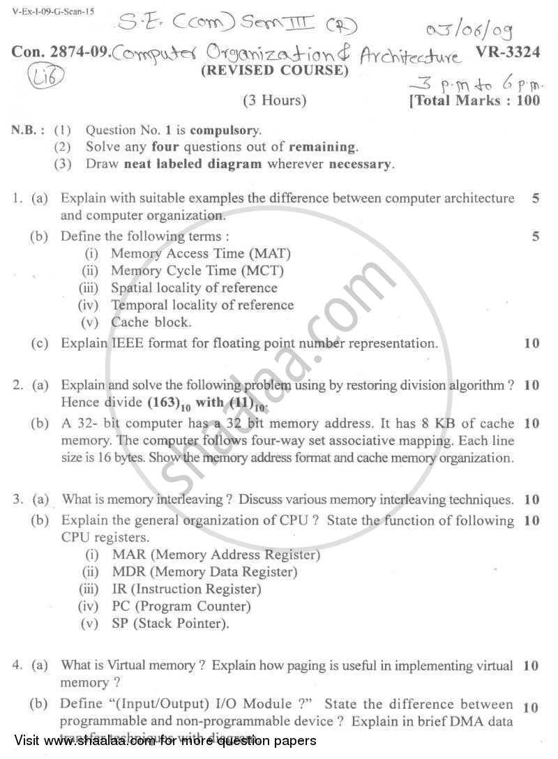 Question Paper - Computer Organisation and Architecture 2008 - 2009-B.E.-Semester 3 (SE Second Year) University of Mumbai