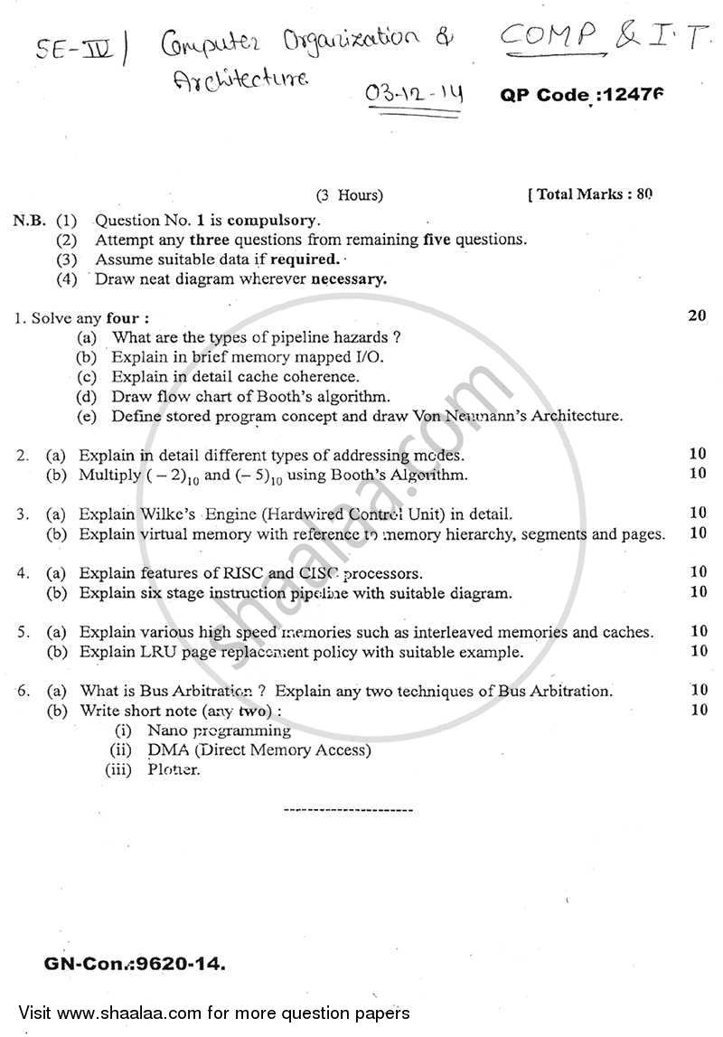 Question Paper - Computer Organisation and Architecture 2014 - 2015 - B.E. - Semester 4 (SE Second Year) - University of Mumbai