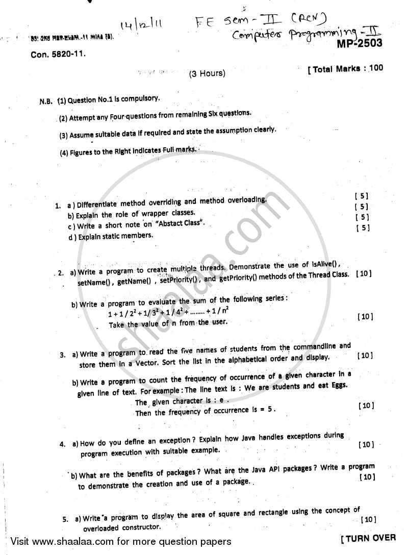 Question Paper - Computer Programming 2 2011 - 2012 - B.E. - Semester 2 (FE First Year) - University of Mumbai