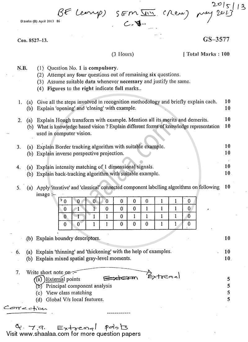 Question Paper - Computer Vision 2012 - 2013 - B.E. - Semester 8 (BE Fourth Year) - University of Mumbai