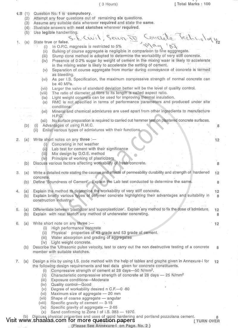 Question Paper - Concrete Technology 2006 - 2007 - B.E. - Semester 4 (SE Second Year) - University of Mumbai
