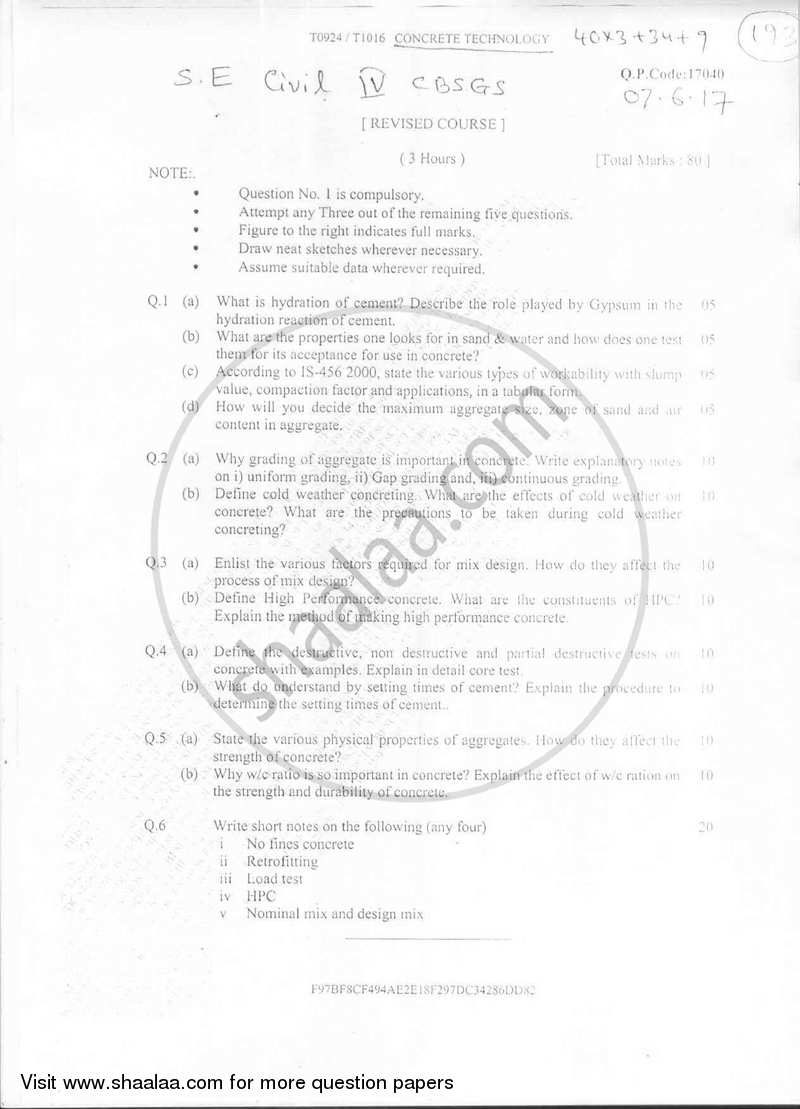 Question Paper Be Civil Engineering Semester 4 Se Second Year
