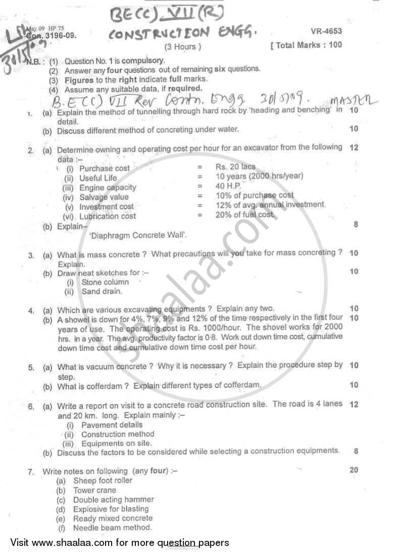 Question Paper - Construction Engineering 2008 - 2009 - B.E. - Semester 7 (BE Fourth Year) - University of Mumbai
