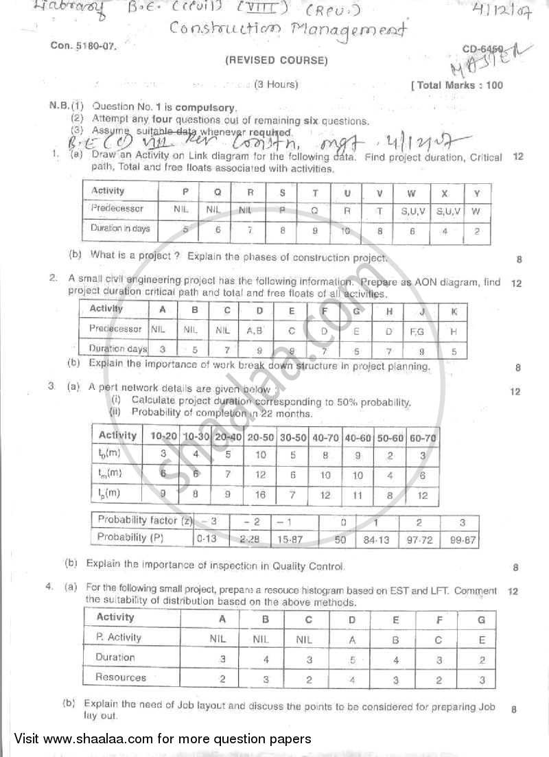 Question Paper - Construction Management 2007 - 2008 - B.E. - Semester 8 (BE Fourth Year) - University of Mumbai