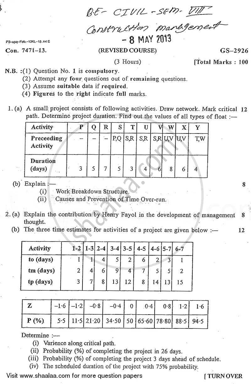 Question Paper - Construction Management 2012 - 2013 - B.E. - Semester 8 (BE Fourth Year) - University of Mumbai