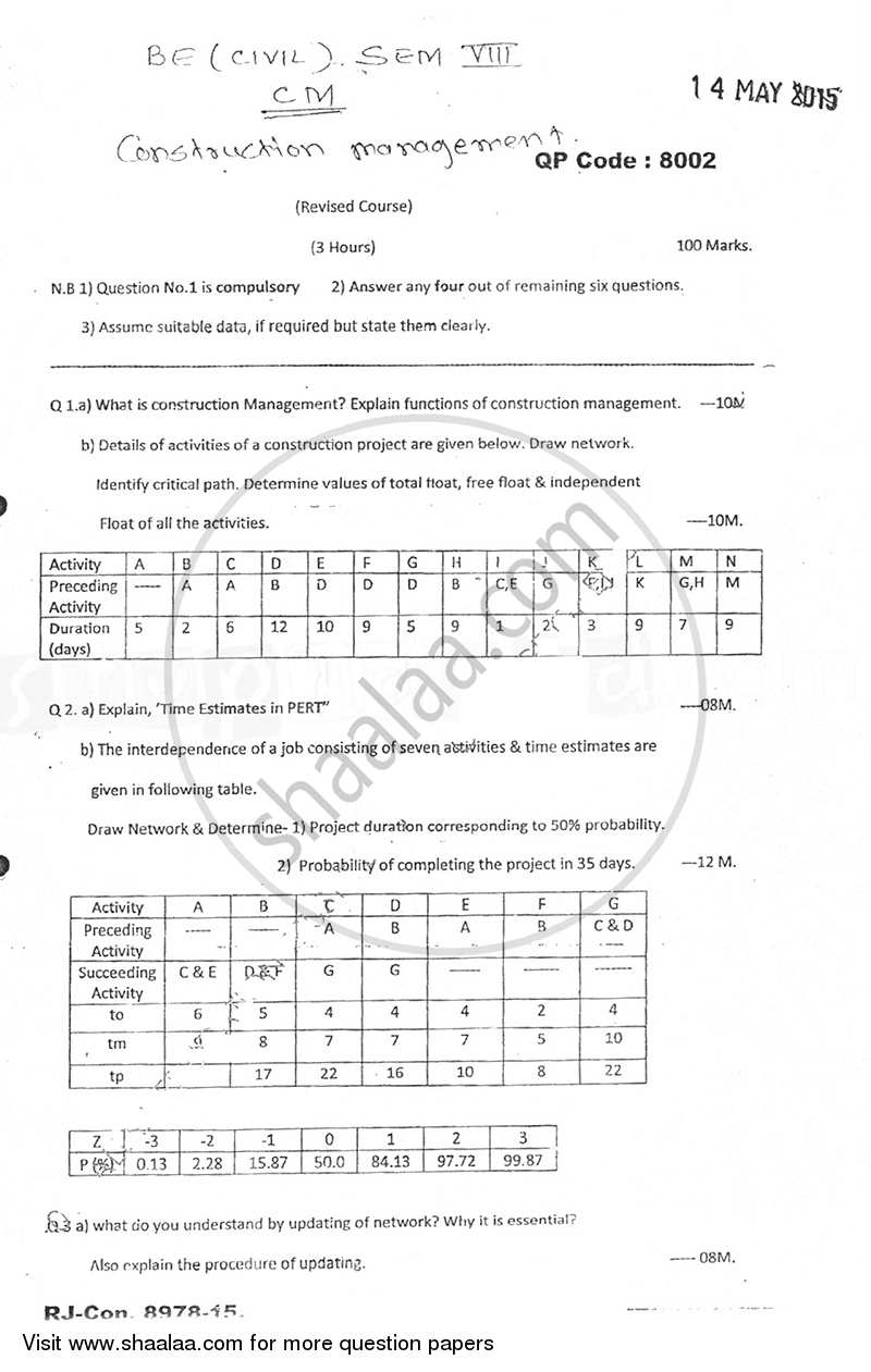 Question Paper - Construction Management 2014 - 2015 - B.E. - Semester 8 (BE Fourth Year) - University of Mumbai
