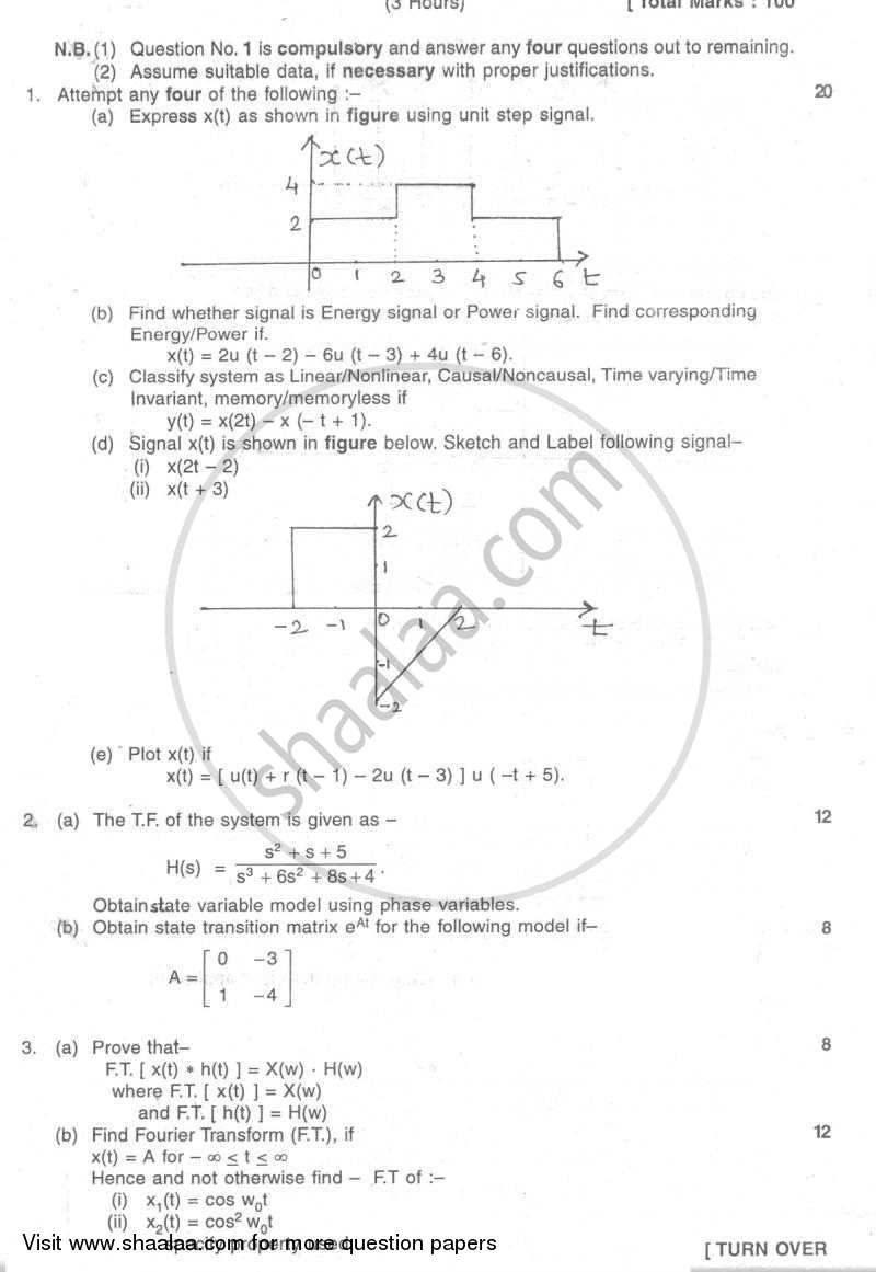 Question Paper - Continuous Time Signals and System 2007 - 2008 - B.E. - Semester 5 (TE Third Year) - University of Mumbai