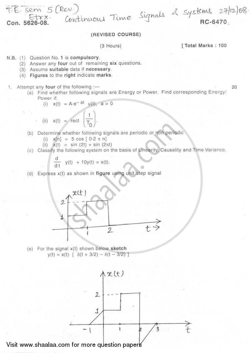 Question Paper - Continuous Time Signals and System 2008-2009 - B.E. - Semester 5 (TE Third Year) - University of Mumbai with PDF download