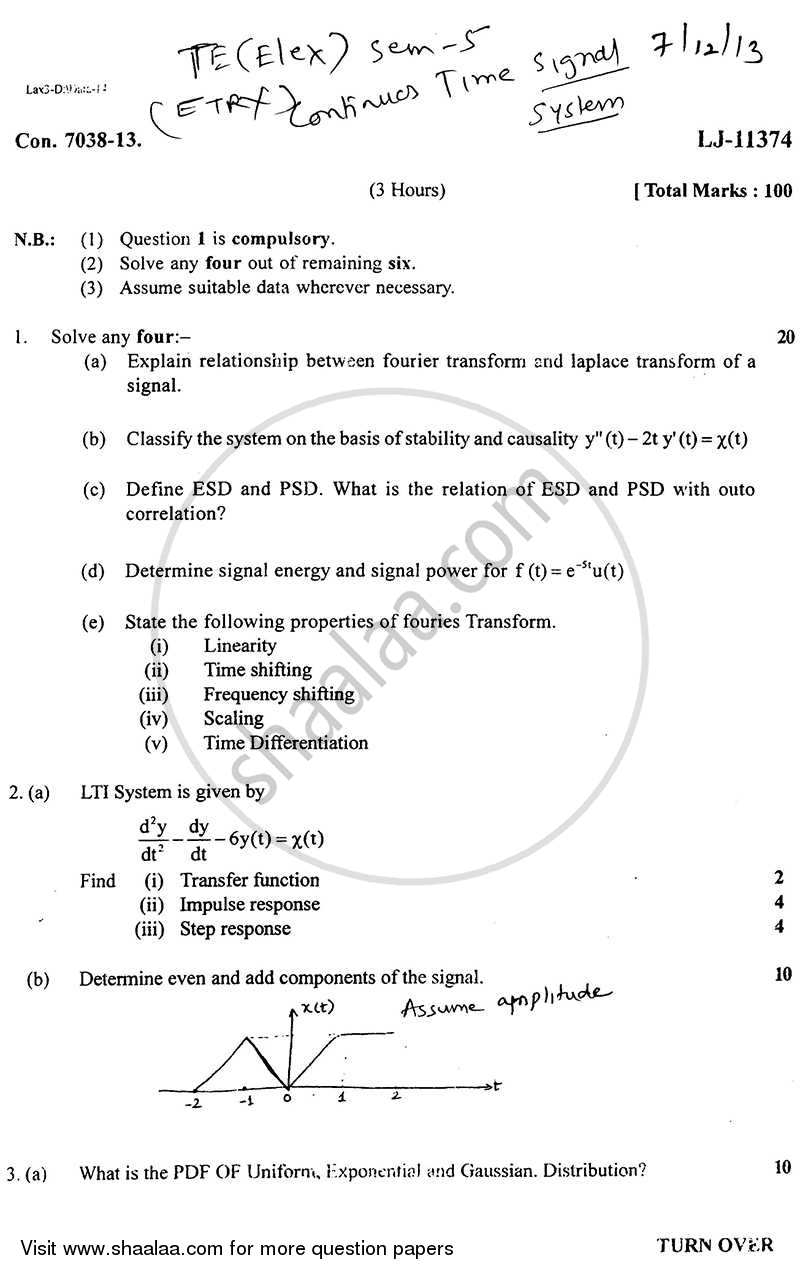 Question Paper - Continuous Time Signals and System 2013 - 2014 - B.E. - Semester 5 (TE Third Year) - University of Mumbai