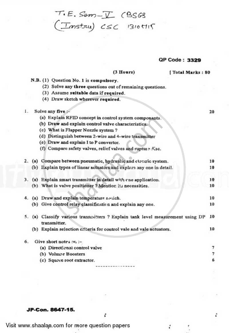 Question Paper - Control System Components 2014 - 2015 - B.E. - Semester 5 (TE Third Year) - University of Mumbai