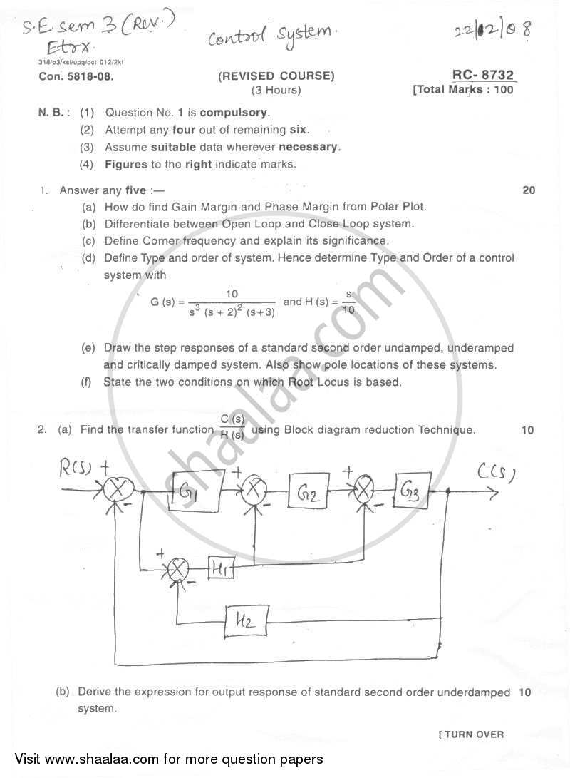 Question Paper - Control System 2008 - 2009 - B.E. - Semester 3 (SE Second Year) - University of Mumbai