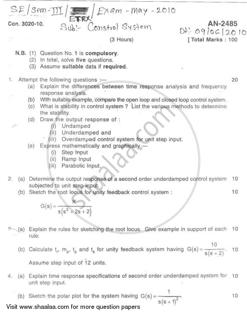 Question Paper - Control System 2009 - 2010 - B.E. - Semester 3 (SE Second Year) - University of Mumbai